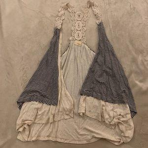 Lace striped cardigan